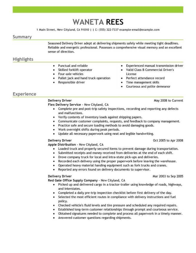 Courier Driver Resume Resume Sample