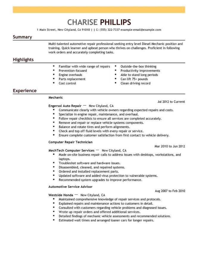 Entry Level Mechanic Resume Example