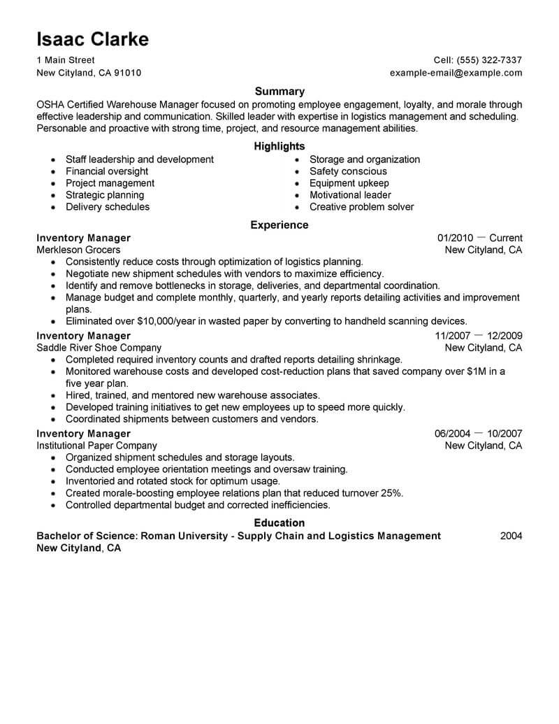 inventory manager resume