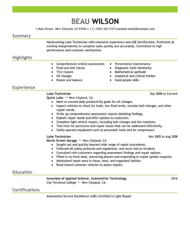 Lube Technician Resume Sample Technician Resumes Livecareer