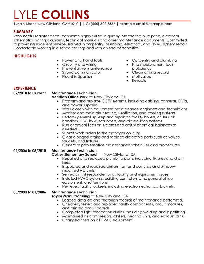 Maintenance Technician Resume Sample Technician Resumes