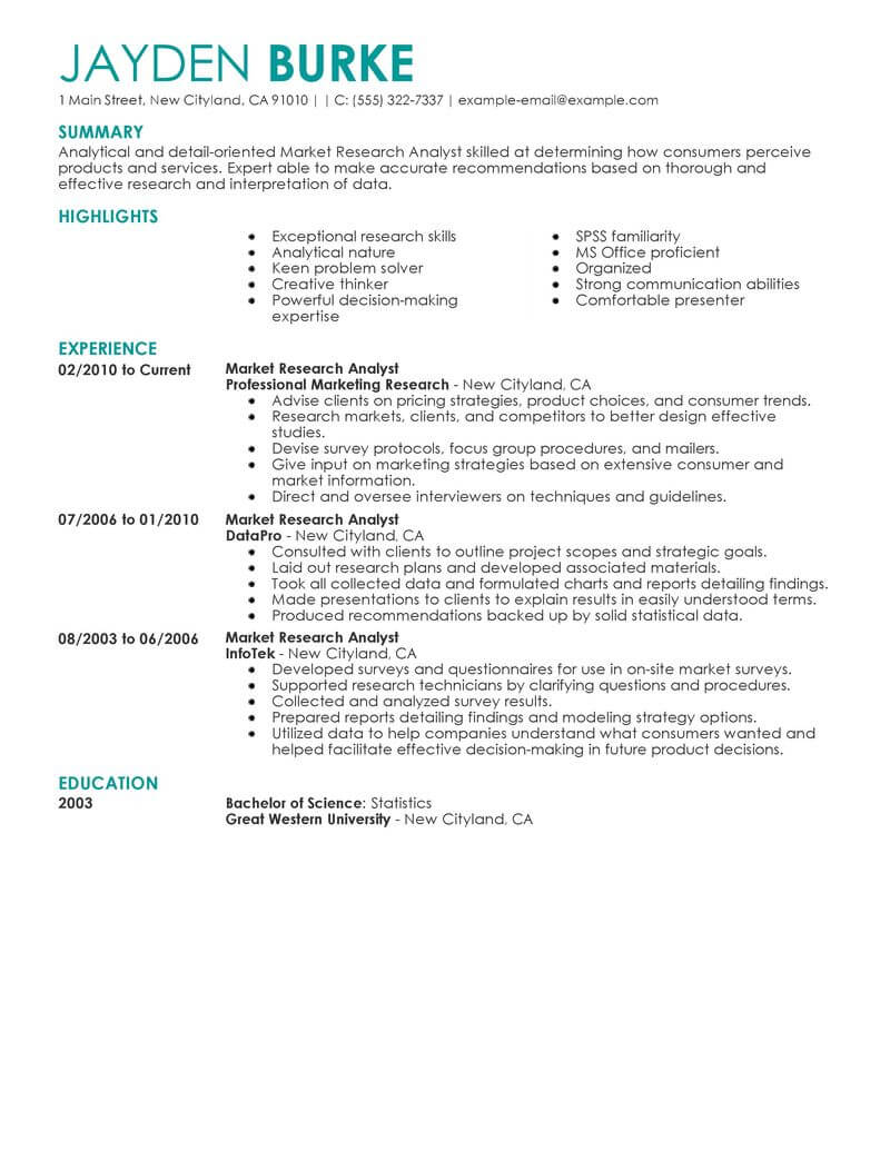 Best Market Researcher Resume Example Livecareer