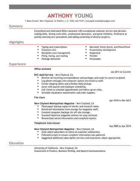 Resume For Office Job - Resume Sample