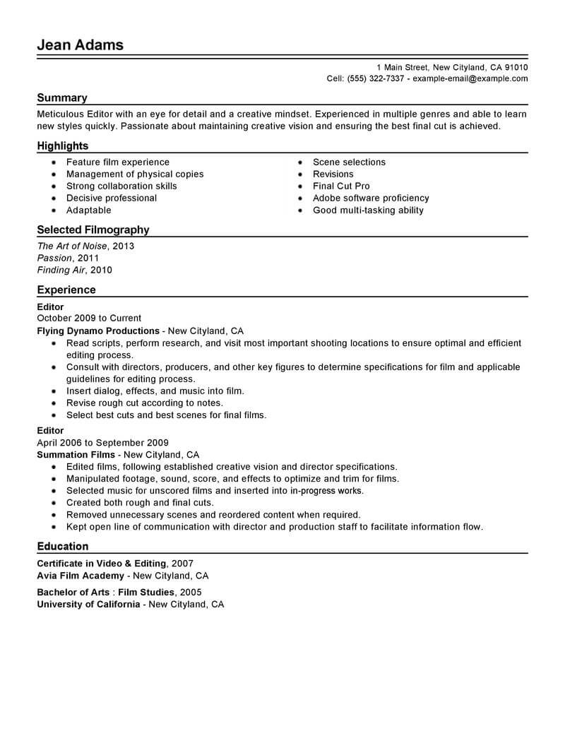 11 Amazing Media Amp Entertainment Resume Examples LiveCareer