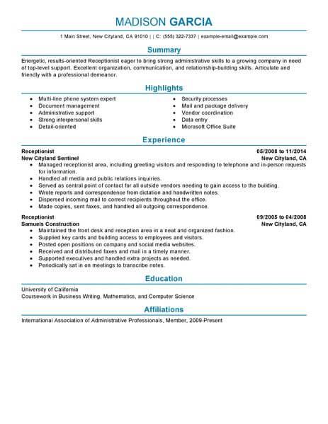 Best Receptionist Resume Example Livecareer  Best Receptionist Resume