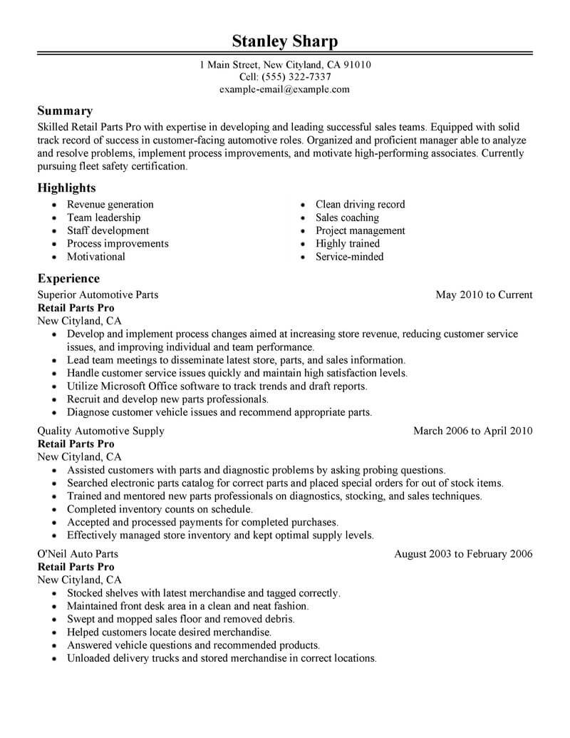 Best Retail Parts Pro Resume Example Livecareer