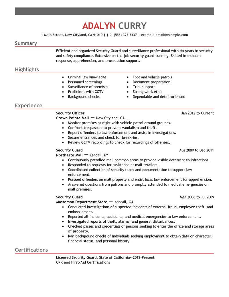 Best Security Guard Resume Example Livecareer  Security Guard Resume Example