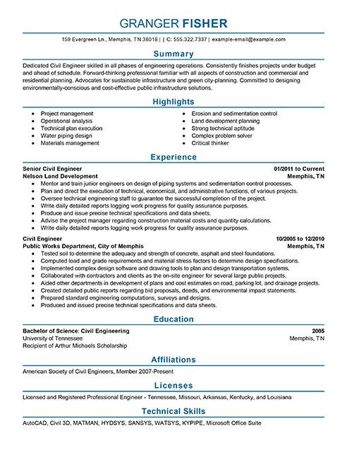 Best Civil Engineer Resume Example Livecareer  Best Engineering Resume
