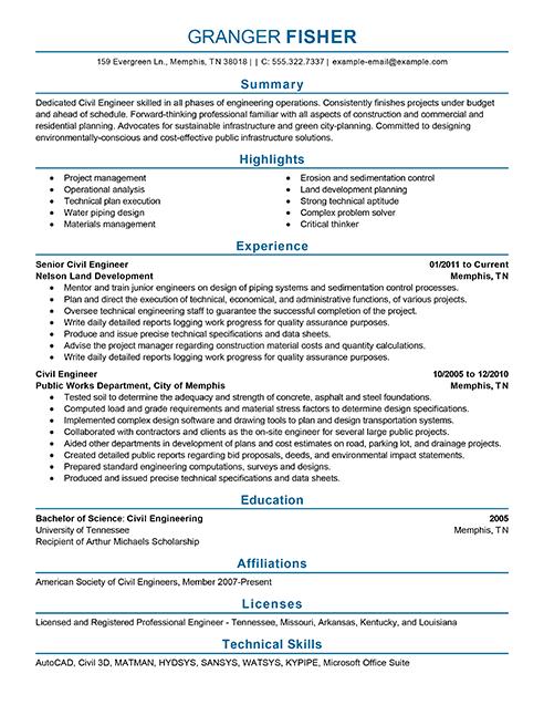 Best Civil Engineer Resume Example Livecareer  Best Engineering Resume