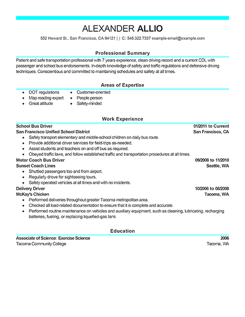 School Bus Driver Resume Examples Resume Sample