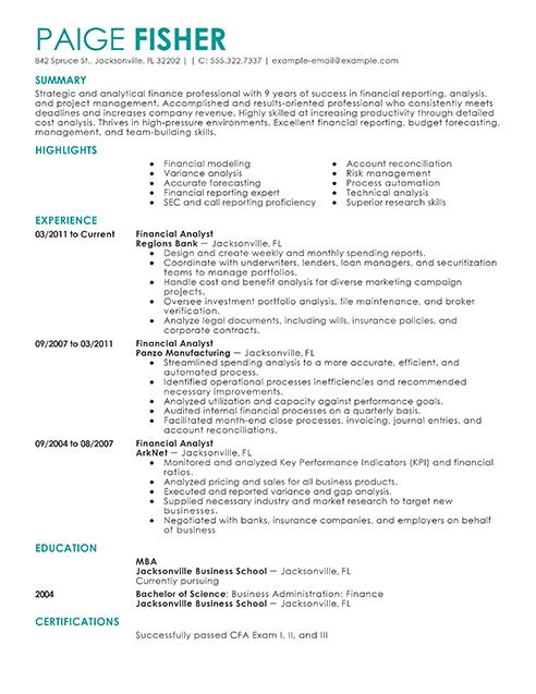 Financial Yst Resumes | Resume For Finance Jobs Resume Sample