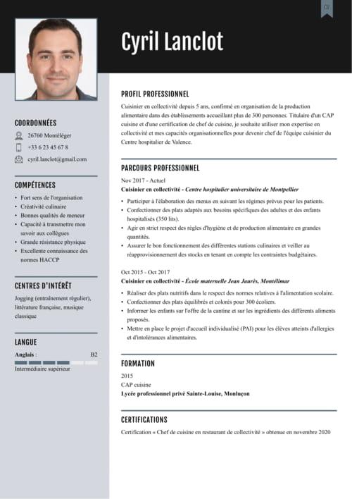 Exemple De Cv Commis De Cuisine Exemples Modeles De Cv