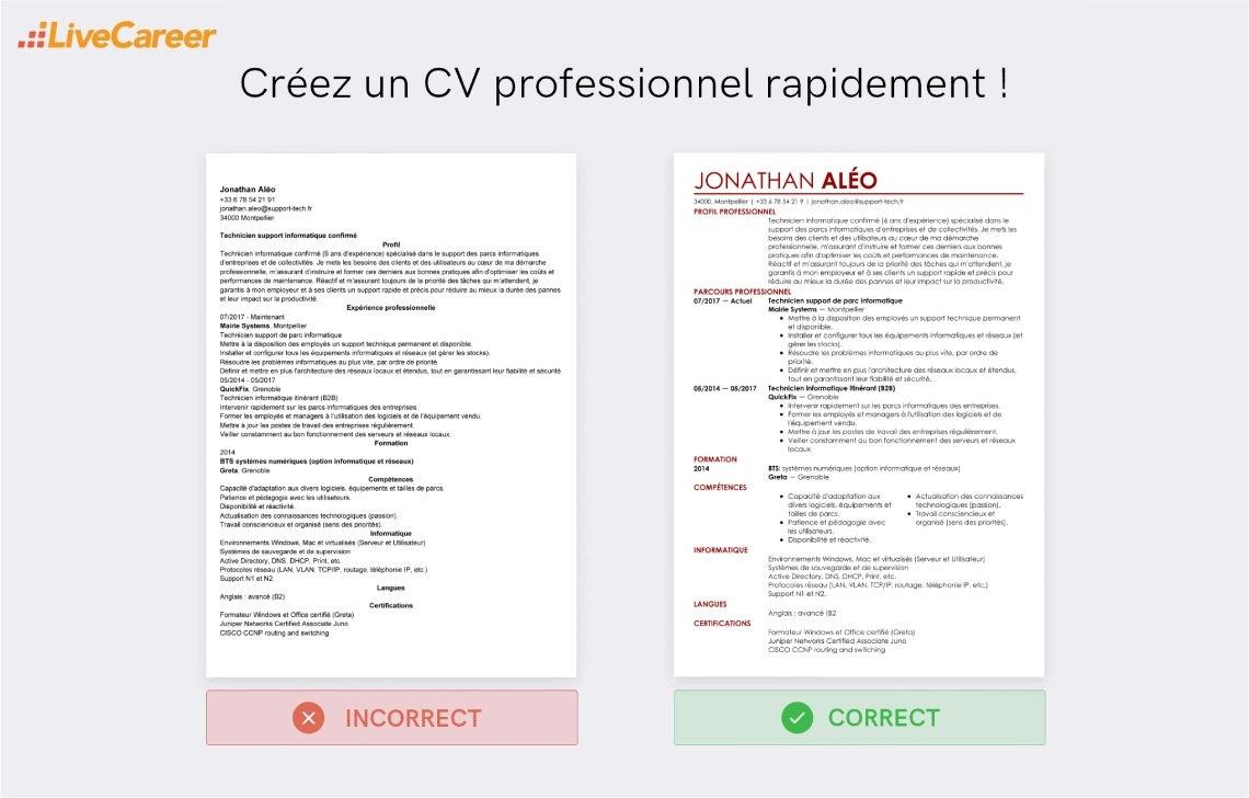 Exemple De Cv Technicien Client Serveur Exemples Modeles De Cv