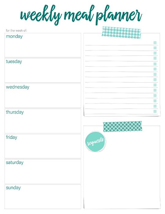 Planner 7 Day Menu Printable