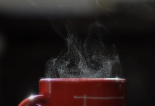 Top of steaming mug of caffeine free drink