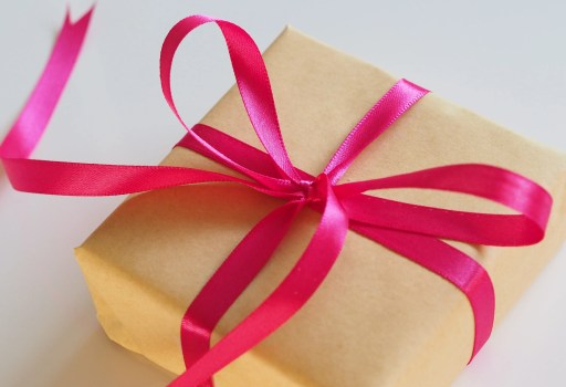 Stop buying presents a single gift with a red bow