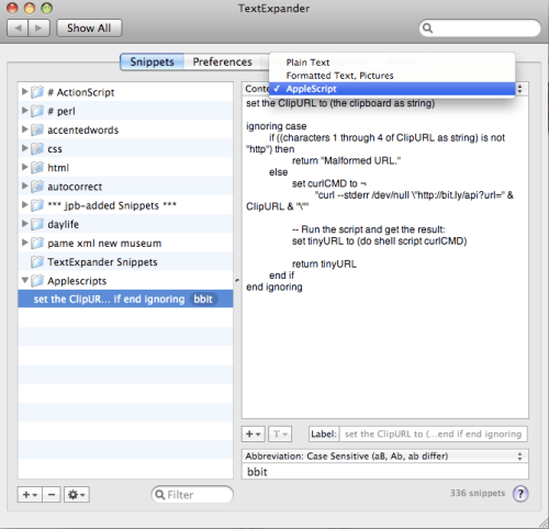 Setting up the Bit.ly AppleScript in TextExpander