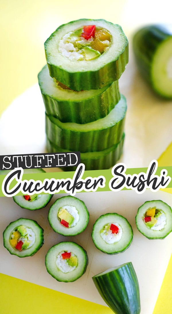This healthy cucumber sushi roll recipe is an easy and refreshing way to enjoy sushi, without all the hassle! Complete with a spicy sriracha mayo sauce. #sushi #sushirecipes #vegetarianrecipes #veganrecipes #glutenfreerecipes