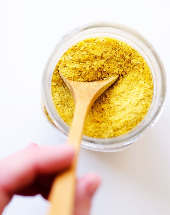 Nutritional yeast flakes in a jar from above