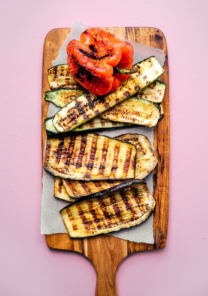 Grilled veggies to make a pressed sandwich