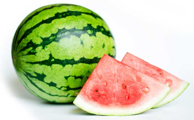 Picture of watermelon slices on a white background