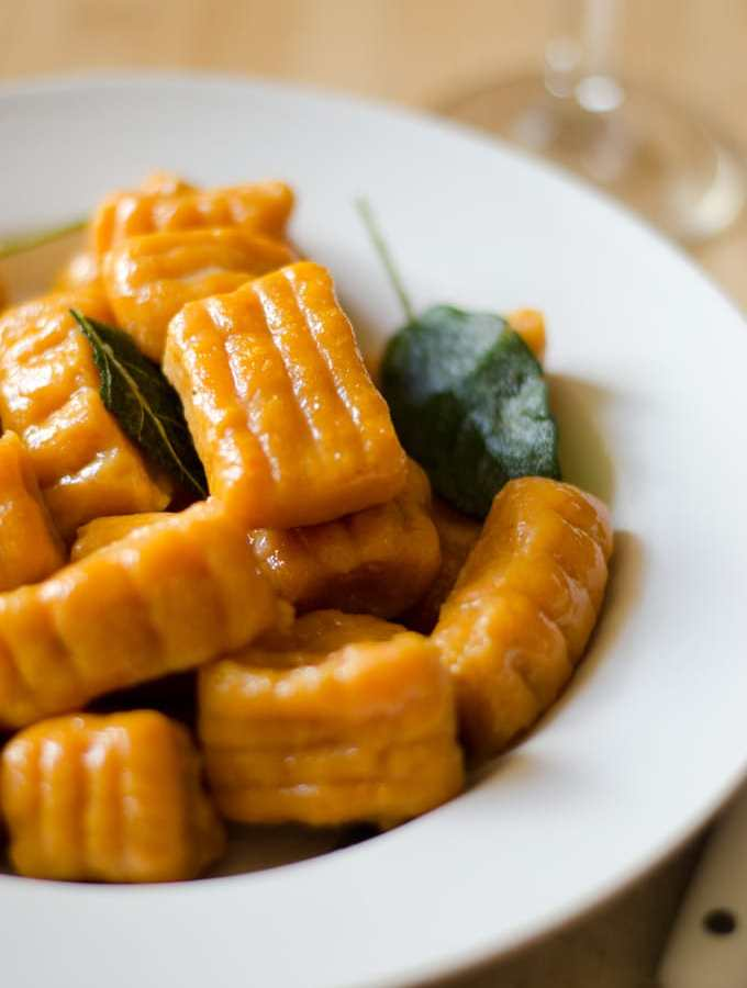 Sweet Potato Pumpkin Gnocchi with Cream Sauce and Sage