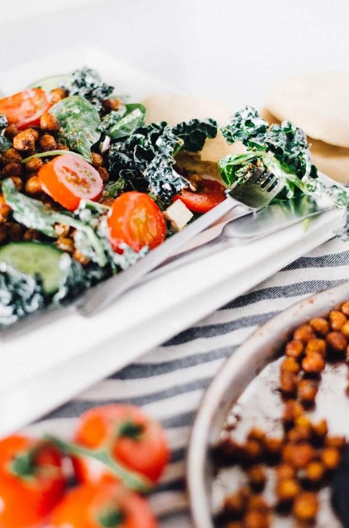 Chickpea Gyro Salad with Tzatziki Dressing