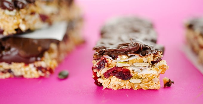 Chocolate-Dipped Chewy Granola Bars