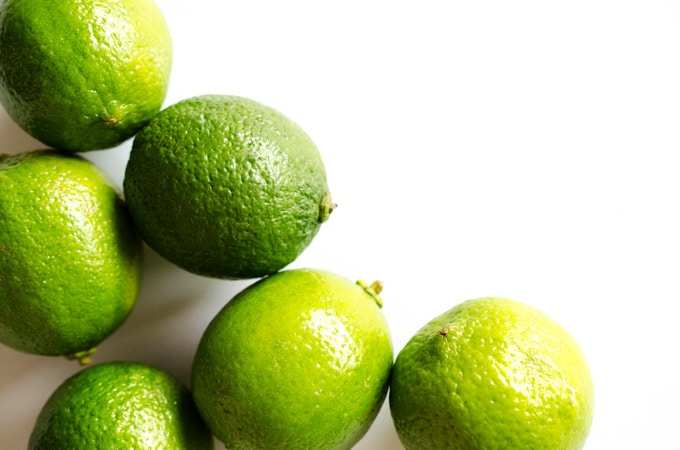 Limes on a white background