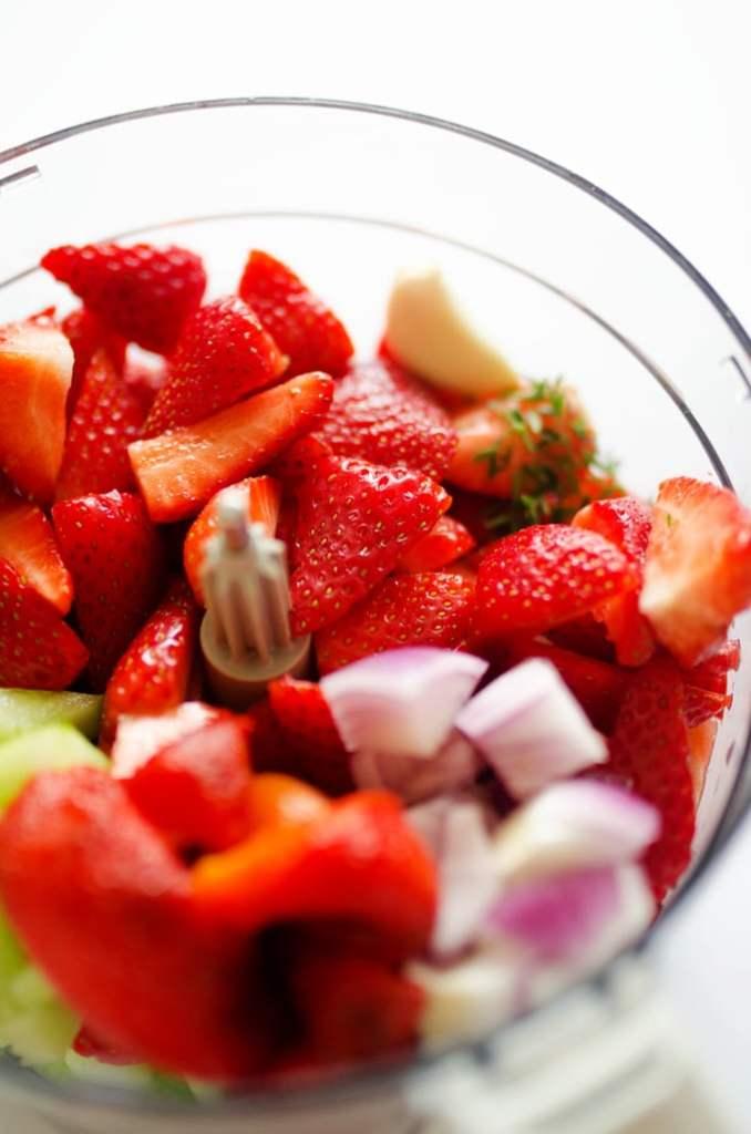 Red Pepper Strawberry Gazpacho Soup