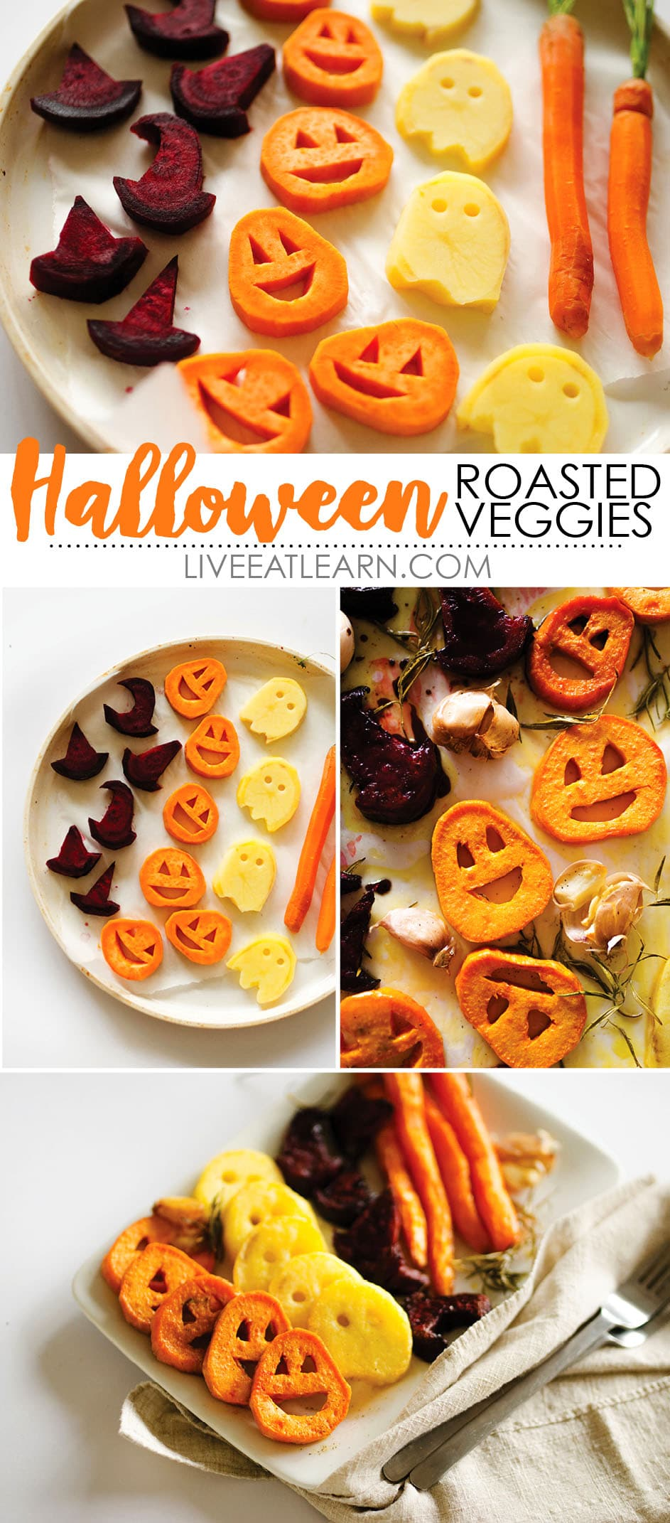 Awesome Halloween idea! With sweet potato jack-o-lanterns, beet root witch's hats, and spooky potato ghosts, this Halloween Roasted Veggies recipe is a healthy way to celebrate this October! Perfect to serve for snack or as a side dish, vegan, gluten-free, and a dish the whole family will love.