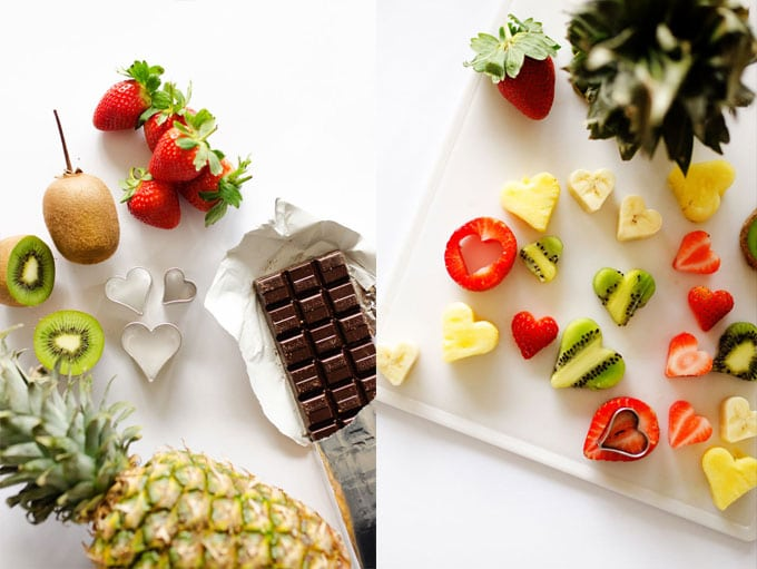 Fruit shaped like hearts on white background
