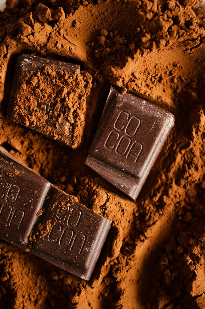 Close up photo of cocoa powder with chocolate bars