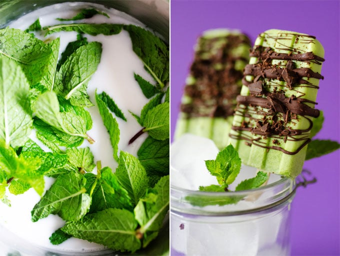 This Mint Chocolate Popsicle recipe is made from fresh mint and without food coloring (plus it's secretly WAY healthy!)