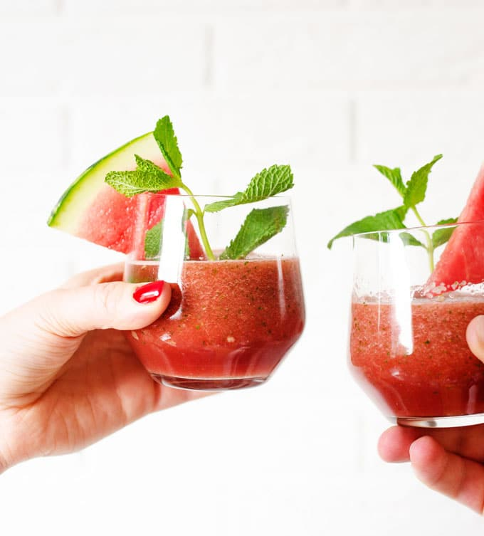 This watermelon smoothie recipe has fresh mint and cucumber, making it ultra-refreshing and hydrating for hot summer days.