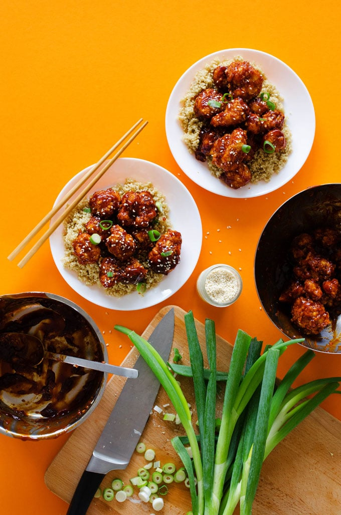 This Baked General Tso's Cauliflower tastes exactly like the Chinese takeout we know and love (without the frying or meat!)