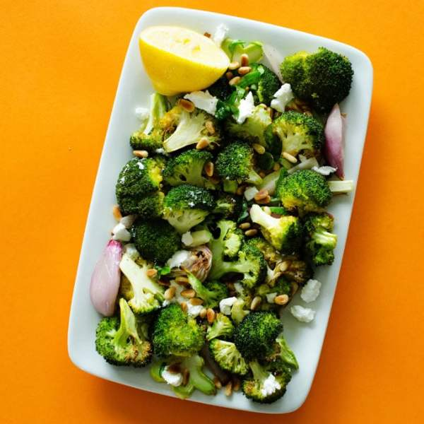 Roasted broccoli on white plate with lemon: Roasted Broccoli with lemon
