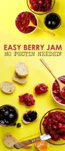 Did you know you can make no pectin jam without fancy equipment? Today I'm showing you how I make easy 3 Ingredient Berry Jam (in 3 tasty flavors!)