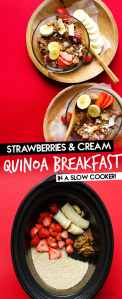 Quinoa in a clear bowl on a red background with wooden spoons - This Overnight Quinoa Breakfast Porridge is a delicious excuse to break out your slow cooker. It tastes like strawberries and cream (while being a healthy, protein-packed way to start your day!)