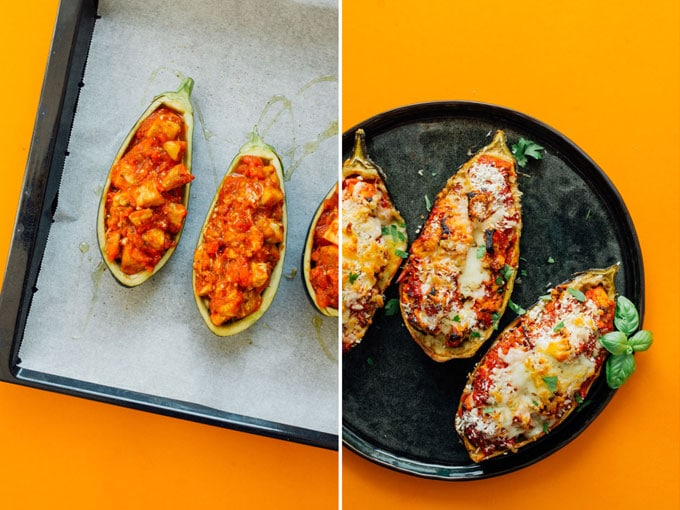 Stuffed eggplant parmesan on a plate with an orange background