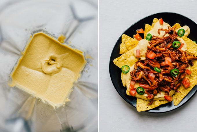 "Vegan nachos collage with cashew queso cheese on a black plate on a white background - These vegan nachos are piled high with easy mushroom BBQ ""pulled pork"" and a cashew-based queso cheese sauce that will knock your dairy-free socks off."