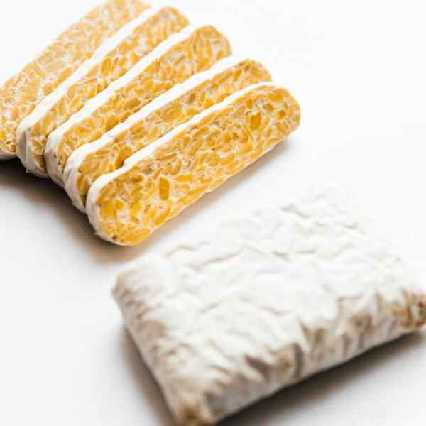 Picture of tempeh block on white background - Let's talk about what you need to know when cooking with tempeh (including what it is, the difference between tofu and tempeh, and how to cook it)!