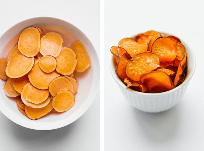 Homemade air fried sweet potato chips on a white background - The ultimate guide on how to cook air fryer potatoes! How to make roasted potatoes, homemade French fries, and potato chips in your air fryer, using both white potatoes and sweet potatoes.