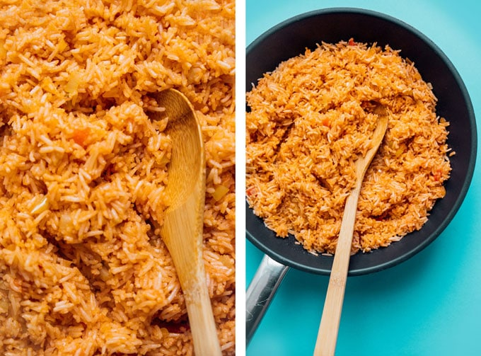 Spanish rice and red beans in a pan with a blue background - This easy vegan Spanish Rice and Beans recipe is quick to whip up and is a great source of complete proteins!