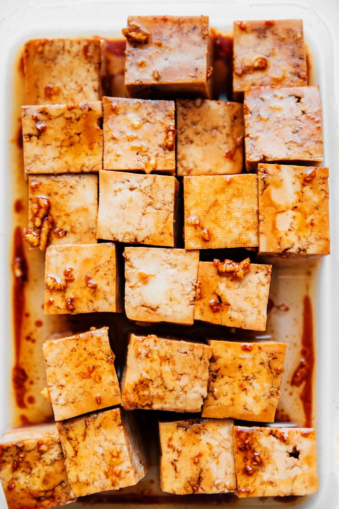 Crispy tofu recipe being marinaded - This vegan air fried tofu tastes like it's straight from the deep fryer (while being way lower in fat).