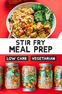 This vegetarian stir fry meal prep idea is packed with flavorful cauliflower fried rice, soy-glazed tofu, steamed broccoli, and sriracha mayo!