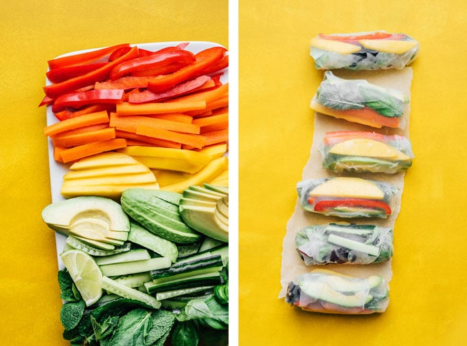 Vegetable ingredients to make Vietnamese spring rolls cut in half on a plate