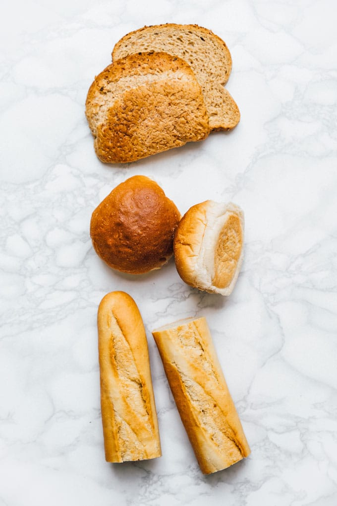 Bread on a marble table for croutons