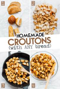 Homemade croutons photo in a bowl