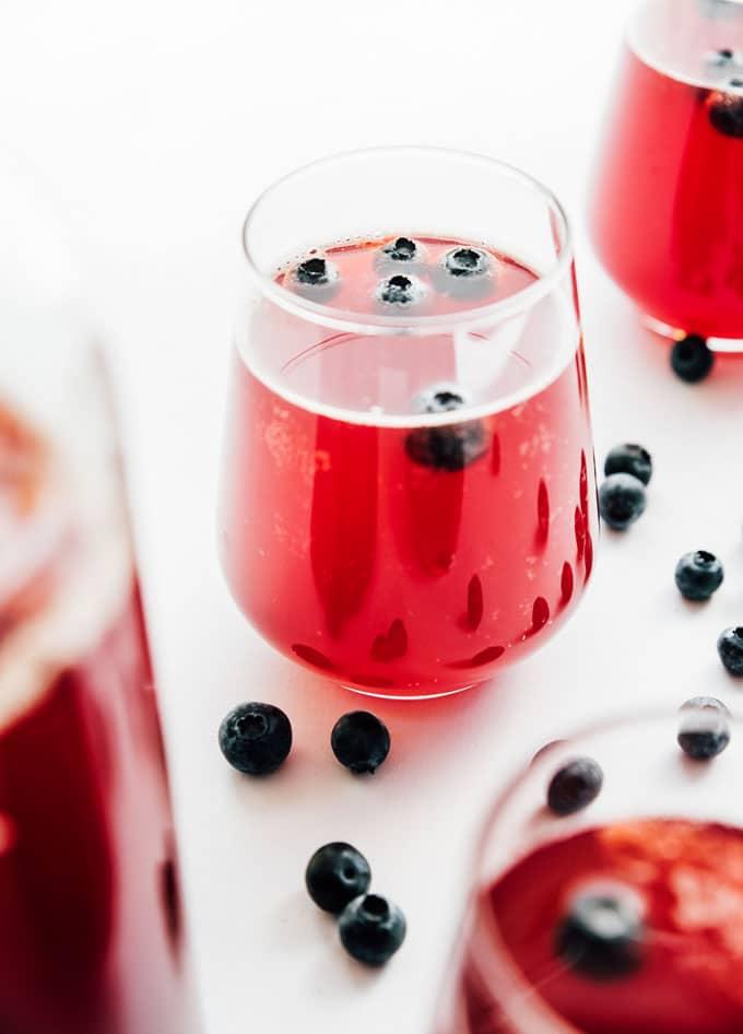 Blueberry kombucha in a glass